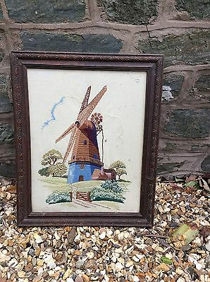 Edwardian Embroidery Woolwork Sampler Picture Of Windmill