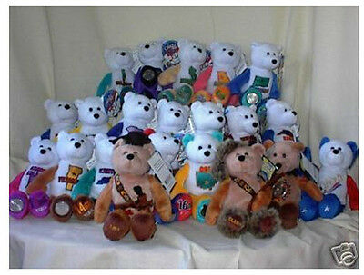 "Stuffed 9"" Collectible State quarter coin bears #1 - #50 + 5 extra teddy bears"