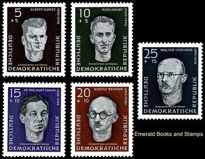 EBS East Germany DDR 1958 Victims of Nazism Michel 635-639 MNH**