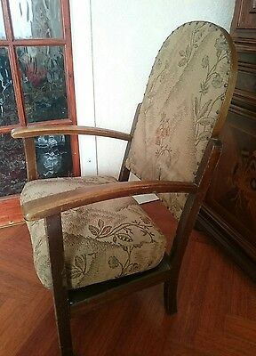 Antique unusual small old wooden arm chair with removable cushion dark wood