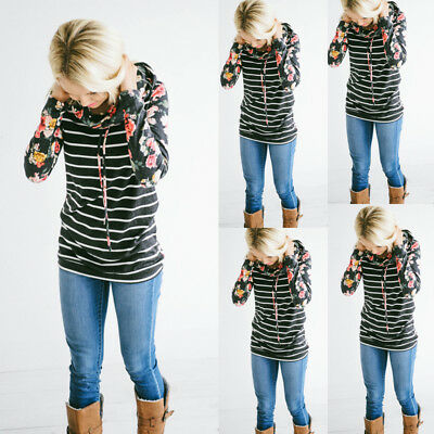 Women Floral Striped Hoodies Tops Long Sleeve Sweatshirts Sweater Casual Coat US