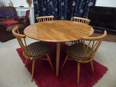 Retro / Vintage Ercol Drop Leaf Dining Table & 4 Chairs