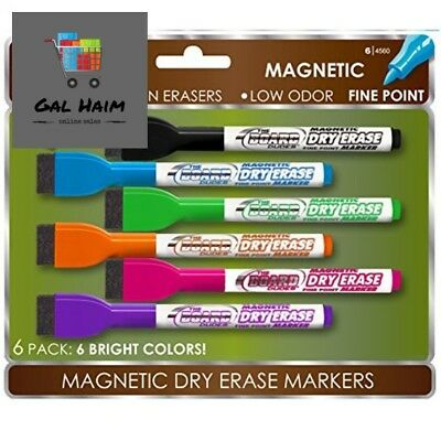 NEW By Board Dudes SRX Magnetic Dry Erase Markers Assorted Colors 6pack Office
