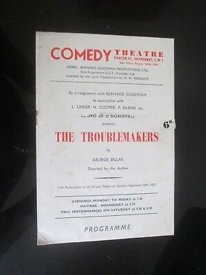 1952 Comedy Theatre George Bellak The Troublemakers Programme Thora Hird