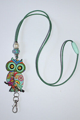 Green Paisley Owl with Murano Beaded Lanyard / ID Badge or Cruise Card Holder