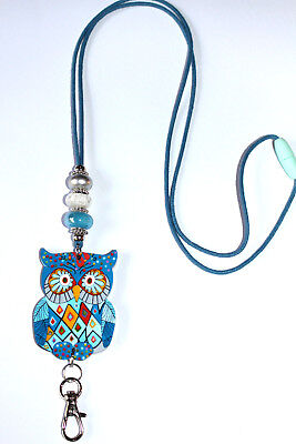 Blue Paisley Owl with Murano Beaded Lanyard / ID Badge or Cruise Card Holder