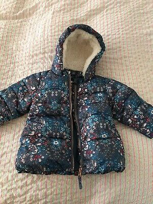 NEXT Baby Girl winter coat, woodland print,  6-9 months