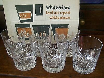 Set 6 Whitefriars Hand Cut Lead Crystal Whisky Glasses Original Vintage Box