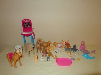 BARBIE PET LOT Puppy Dogs, Long hair Afghan, Cats, Dolphins, Pony