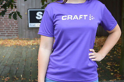 Craft Active Run Logo Ladies Running Sports Bike Shirt Short Sleeve Purple %%%