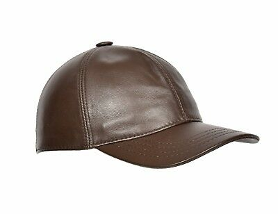 High Quality Real BROWN Leather Baseball Cap Velcro Fastening One Size Fits All