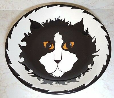 Cats By Nina Lyman 2001 Black Staring Cat - Lg Serving Bowl/plate /new W/0 Tags