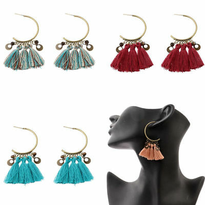 Women's Vintage Bohemian Boho Hollow Round String Tassels Dangle Stud Earrings