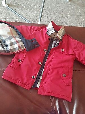 red baby Burberry boys jacket coat 12 months