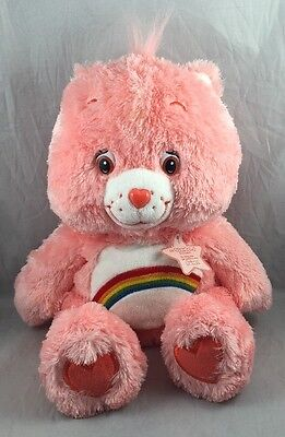 Cheer Bear Floppy Care Bears Plush Toy Rainbow Pink Happy Strawberry 2005 13""