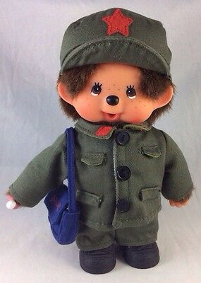 Army Military Mail Carrier Monchhichi Monkey Baby Suck Bottle Boy Doll Vtg Plush