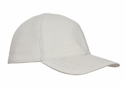 High Quality Real WHITE Leather Baseball Cap Velcro Fastening One Size Fits All