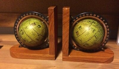 World Globe Spinning Bookends Wood Hong Kong Vintage