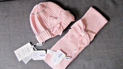 ALETTA Gorgeous Pink Wool Knit Girl Scarf & Hat Set SZ2 Y MADE IN ITALY - NWT