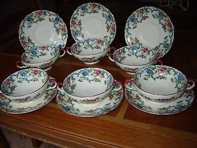 Royal Cauldon - Victoria - 6 x 2 handled Soup Cups / Bowls with Saucers