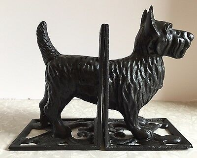 Set Of 2 Cast Iron Scottie Dog Bookends Book Ends Doorstops Scottish Terrier