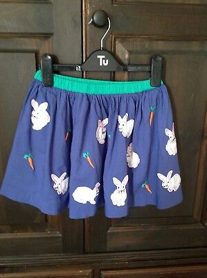 Girls Blue Bunny Rabbit Skirt By Mini Boden Age 7-8 Years