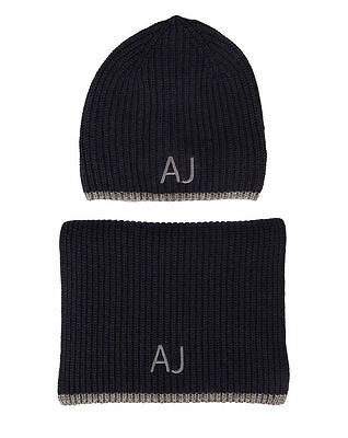 Armani Jeans Mens Navy Blue/Grey Scarf and Hat Set with Gift Packaging