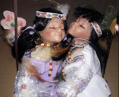 Cathay Collection Indian Doll Set Kissing On A Wooden Swing PACO CHENOA LIMITED