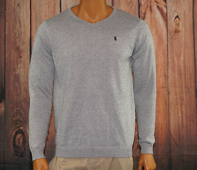 Ralph Lauren Sweater Men Size Large V-Neck Gray Knit Elbow Patches