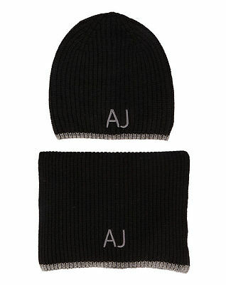 Armani Jeans Mens Black Scarf and Hat Set with Gift Packaging