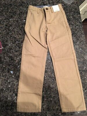 NWT Gymboree Boys Kids Size 7 Slim Khaki Tan School Uniform Pants New Adjustable