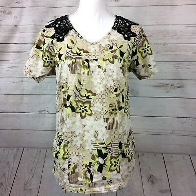 KOI by Kathy Peterson Floral Scrub Top Womens Medium Black Crochet Green Floral