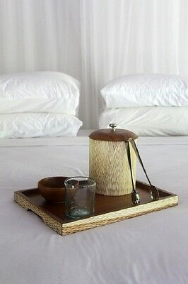 Wooden ice bucket set with matching serving tray, coaster and beer nut bowl