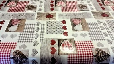 Plain Patchwork Red Gingham Hearts Brown Wood Plank PVC Vinyl Table cloth Cover