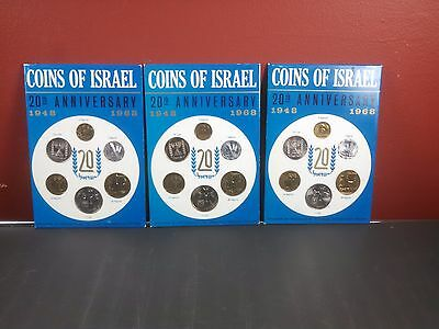 3 Sets of 1968 Coins of Israel 20th Anniversary Sets X3 Free Shipping