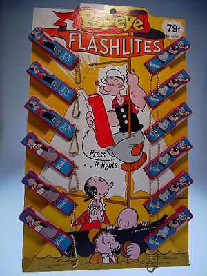 "GSCOM  ""POPEYE FLASHLITES"" , 1950s, 38x24cm, STORE DISPLAY, NEW IN NEW BOX !"