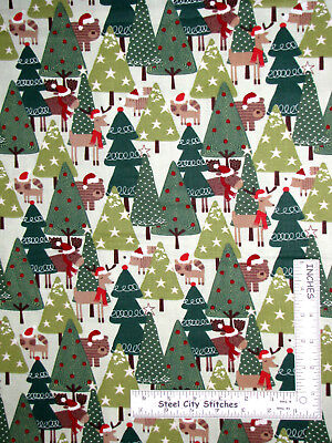 Christmas Forest Animals Moose Deer Bear Cotton Fabric Holiday Green Yard