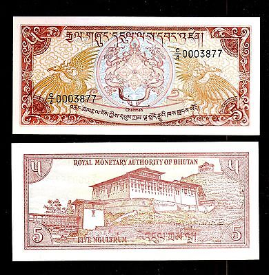 Bhutan In South Asia,1 Pce Of 5 Ngultrum 1985/90,low Serial,000**** From Bundle