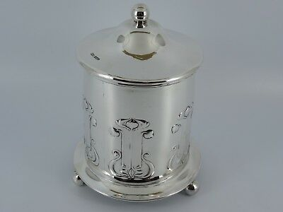 Rare Solid Silver Art Nouveau Tea Caddy Biscuit Barrel Box Sheffield 1901 384G