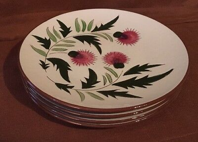 "VINTAGE Lot Of 5 STANGL THISTLE PATTERN PLATES 9 3/4""D N 9 1/8""D Good Used Cond"
