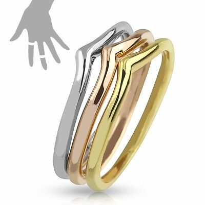 Tri-Color Triple interlocking Mid-Rings/Toe-Rings - Steel Gold Rose Gold Plated