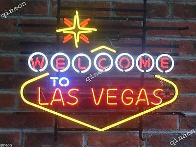 "24"" Inch New Style Welcome to Las Vegas Game Room Beer Home Bar Neon Sign Light"