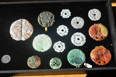 Antique Chinese natural jade round pendant carving lot