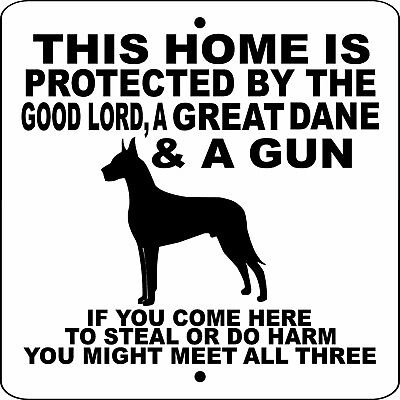"GREAT DANE DOG SIGN,9"" x 9"" Aluminum,Guard Dog,Security,Fence sign,Gate,GLGDG9x9"