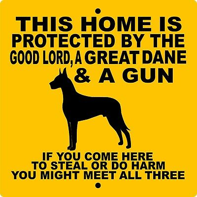 "GREAT DANE DOG SIGN,9"" x 9"" Aluminum,Guard Dog,Security,Fence sign,Gate,GLGD9x9Y"