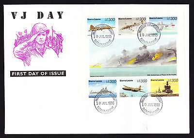 Sierra Leone 1995 VJ First Day Cover WW2 Peace in Pacific Stamp Sheet Ship Plane