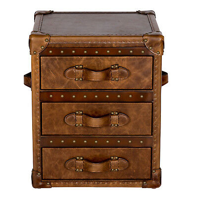 NEW Vintage Leather 3 Drawer Side Table Trunk