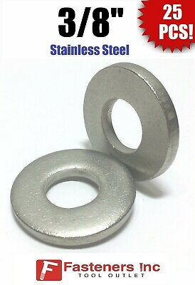 """(Qty 25) 3/8"""" Stainless Steel THICK HEAVY DUTY SAE Flat Washers (.120 Thick)"""