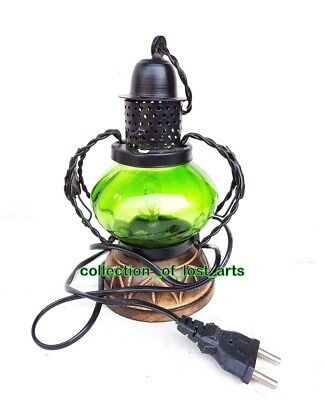 Vintage Old Antique Style Iron , Glass & Wood Electric Lantern Look Night Lamp *