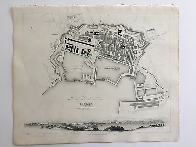 Vintage Original 1845 Topographic Map & Drawings 'Toulon' City in France